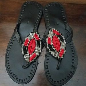 Shoes - Handmade Beaded Leather Tribal Sandals!!